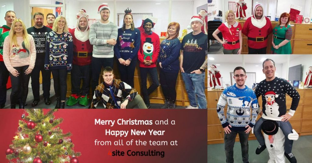 collage of the team in their Christmas jumpers