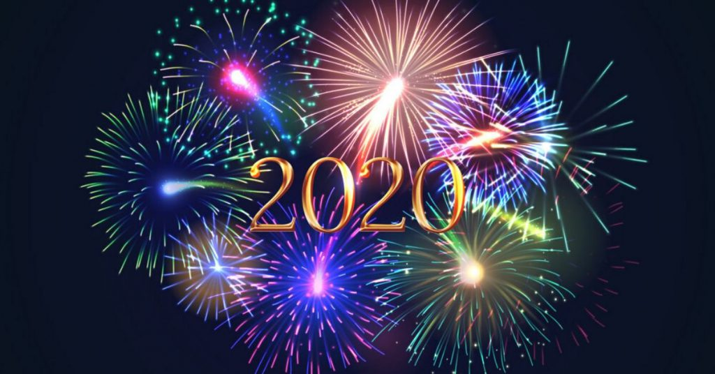2020 with a background of fire works