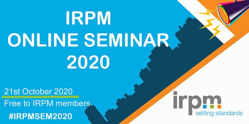 Poster for the IRPM Online Seminar 2020 date: 21st October 2020